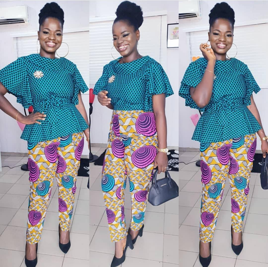 AFRICAN ELEGANT PANTS AND BLOUSE