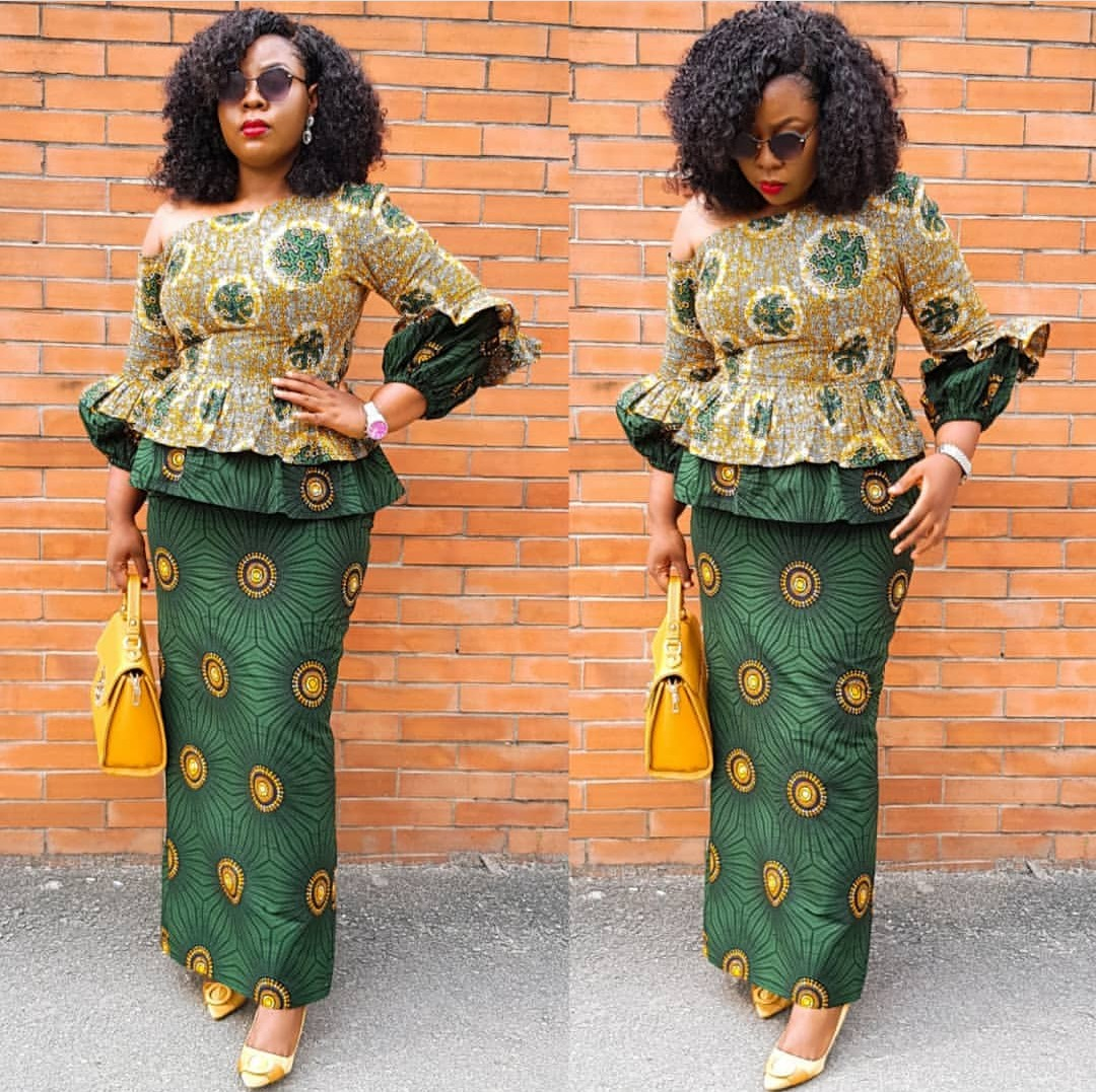 AFRICAN FABRICS 2020 : OPEN SHOULDERS  ANKARA BLOUSE FOR NEW LOOK 6
