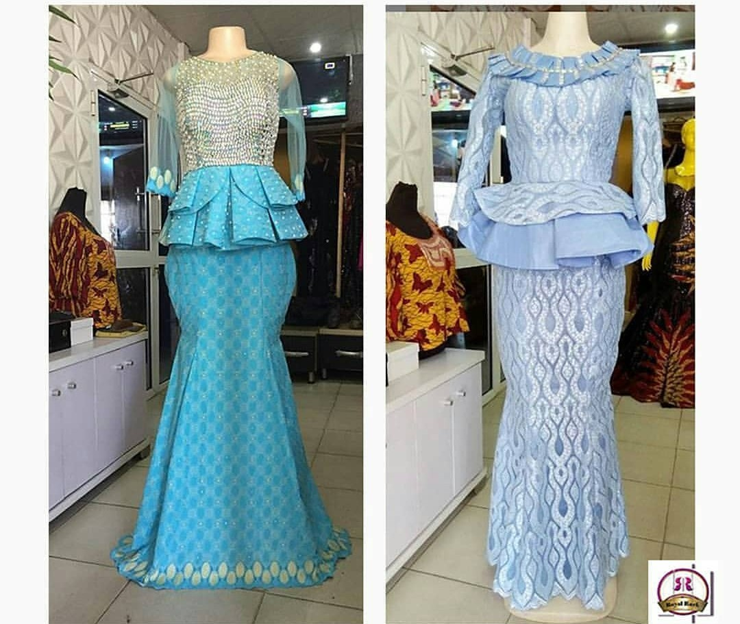2020 NIGERIAN DESIGNS, NEW LACE SKIRT&BLOUSE STYLES FOR YOU! 3