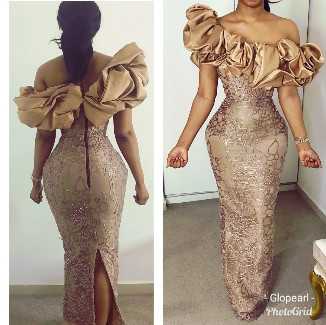2020 DESIGNS- LATEST NIGERIAN ASO-EBI STYLE DRESS FOR LADIES!!! 3